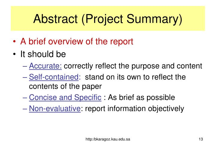 Abstract (Project Summary)