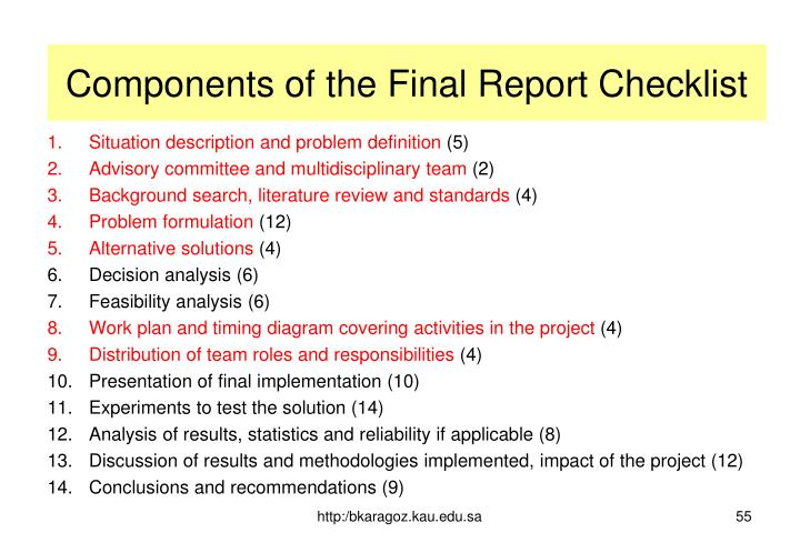 Components of the Final Report Checklist