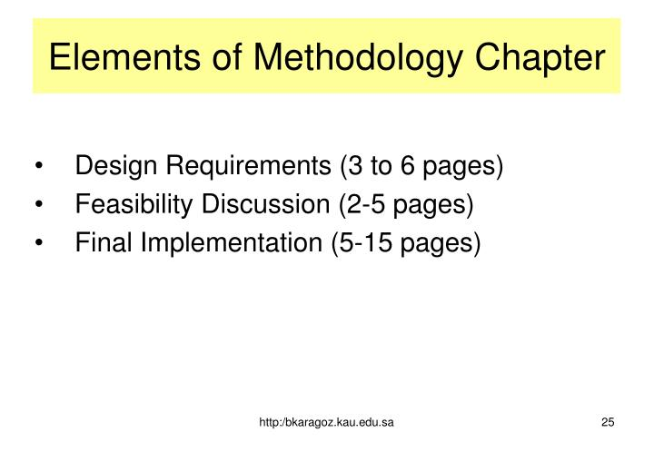 Elements of Methodology Chapter