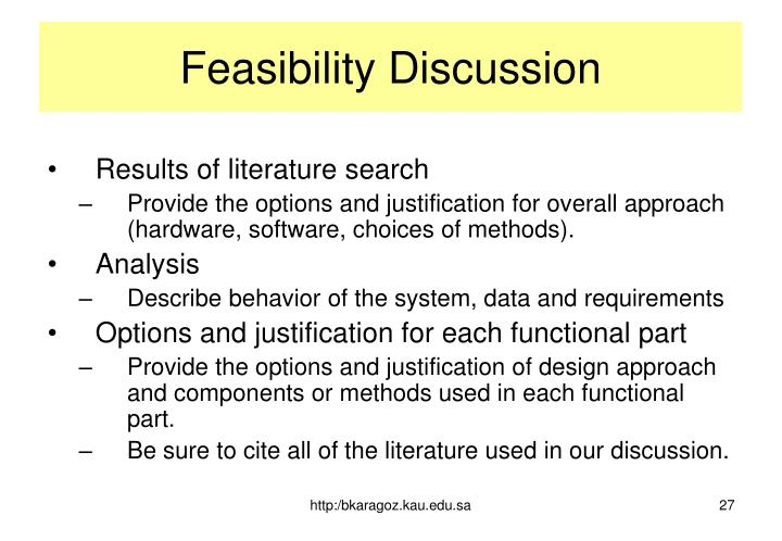 Feasibility Discussion