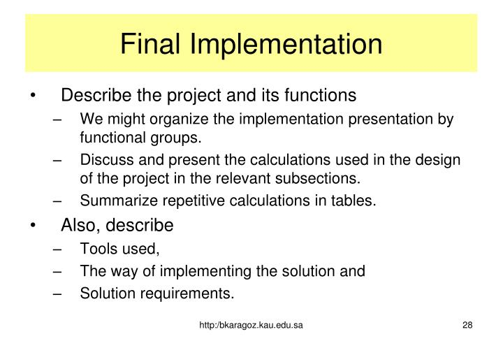 Final Implementation