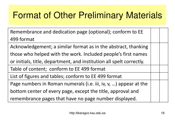 Format of Other Preliminary Materials