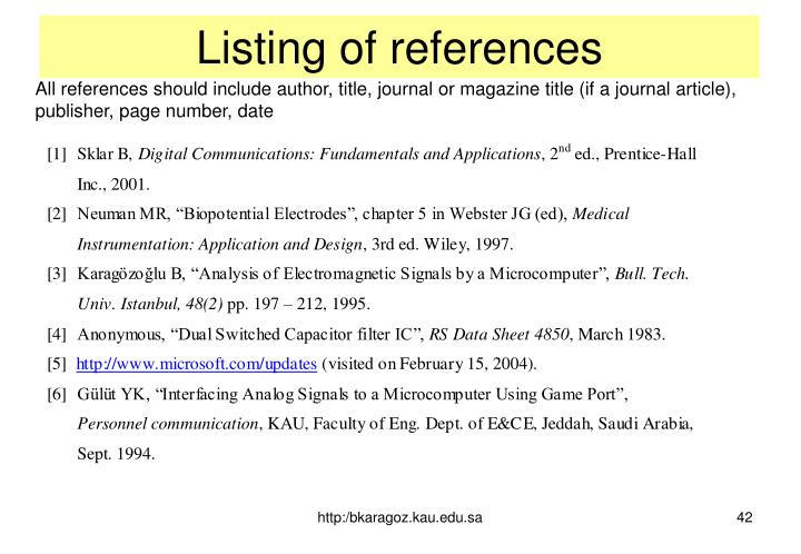 Listing of references