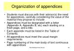 organization of appendices