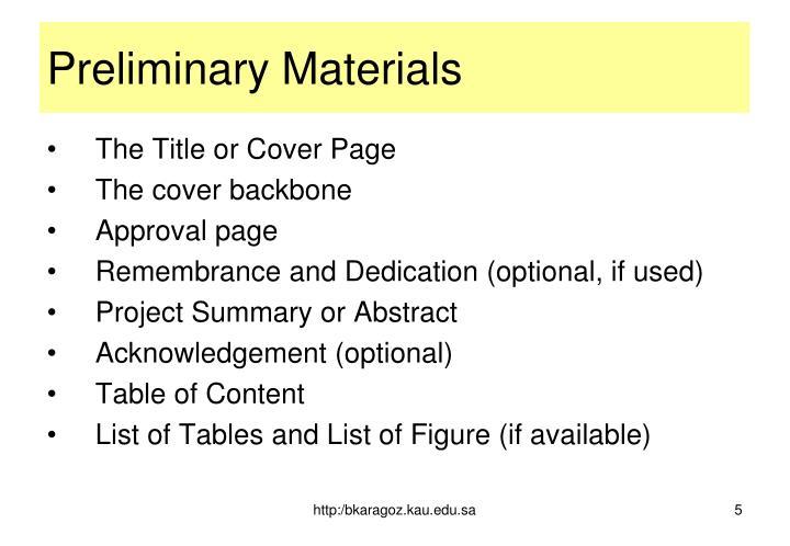 Preliminary Materials