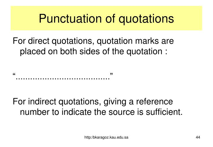 Punctuation of quotations
