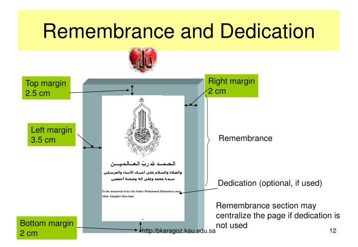 Remembrance and Dedication