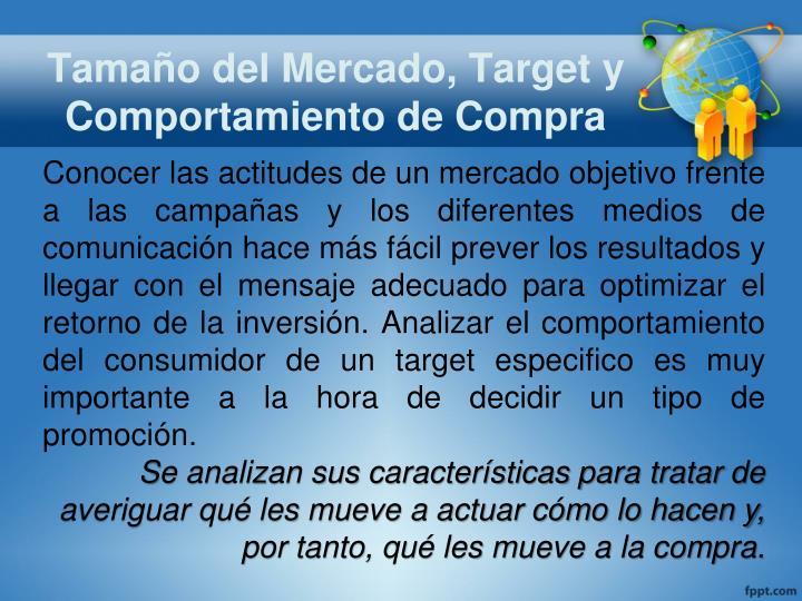 Tamaño del Mercado, Target y Comportamiento de Compra
