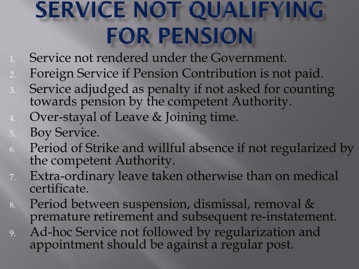 Service not qualifying for pension