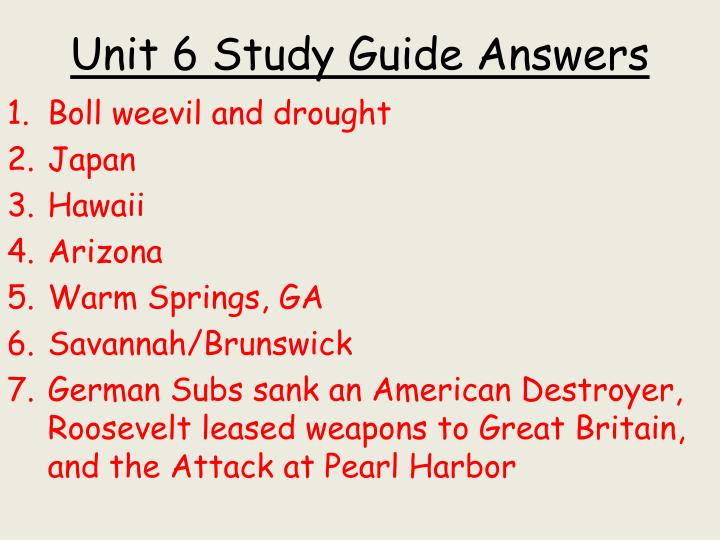 Unit 6 study guide answers
