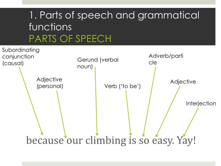 1. Parts of speech and grammatical functions