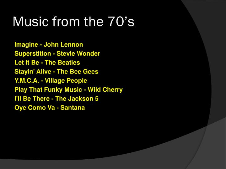 Music from the 70's
