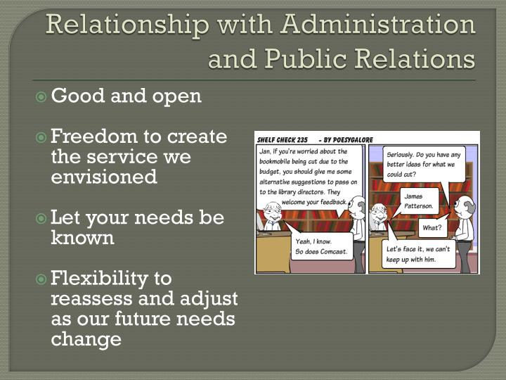 Relationship with Administration