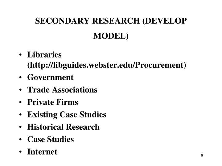 SECONDARY RESEARCH (DEVELOP MODEL)