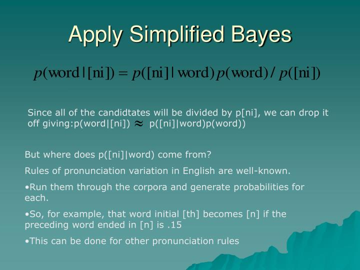 Apply Simplified Bayes