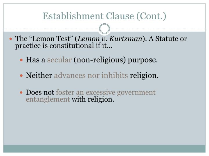 Establishment clause cont
