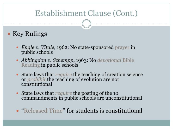 Establishment Clause (Cont.)