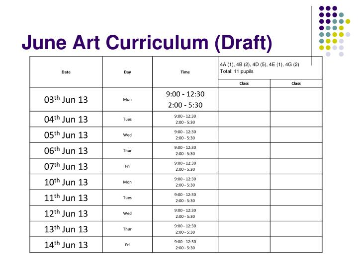 June Art Curriculum (Draft)