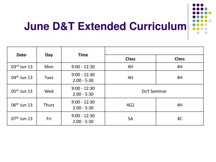 June D&T Extended Curriculum