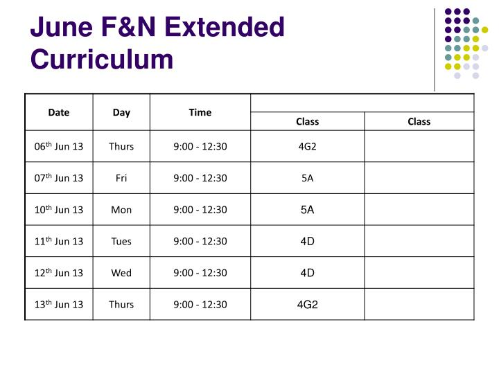June F&N Extended Curriculum