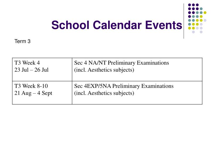 School Calendar Events