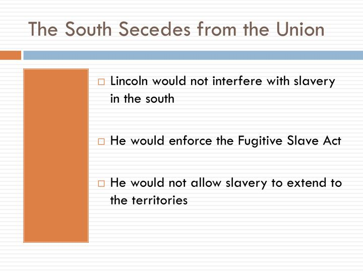 The South Secedes from the Union