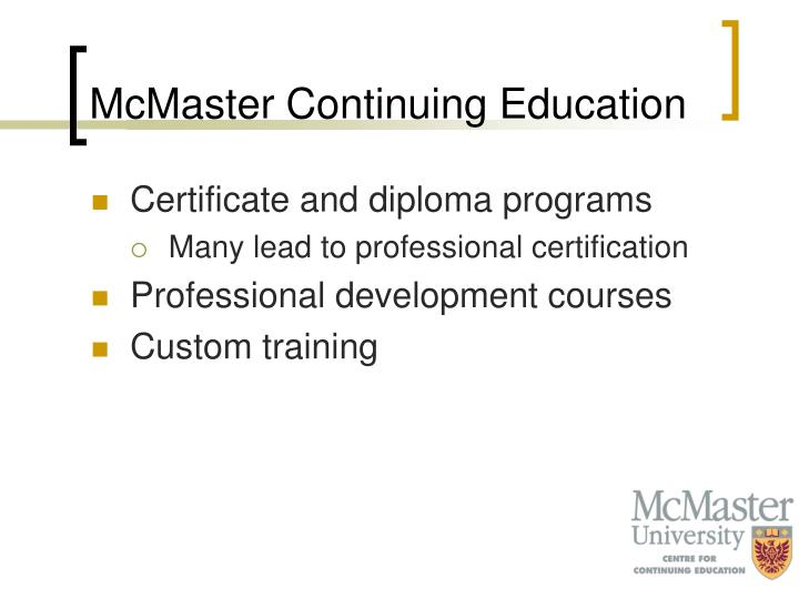 McMaster Continuing Education