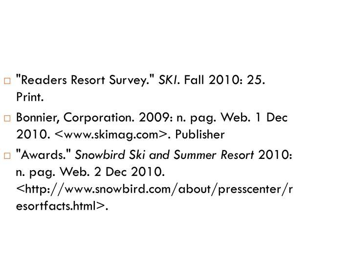 """""""Readers Resort Survey."""""""