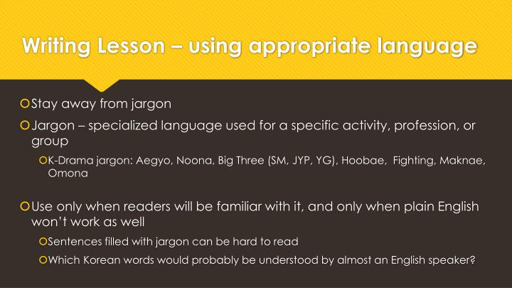 Writing Lesson – using appropriate language