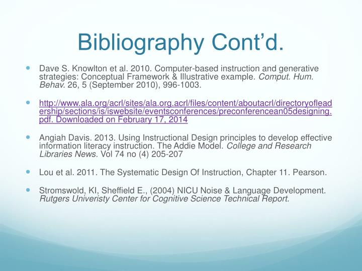 Bibliography Cont'd.