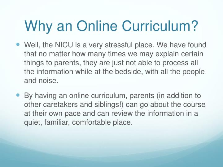 Why an Online Curriculum?