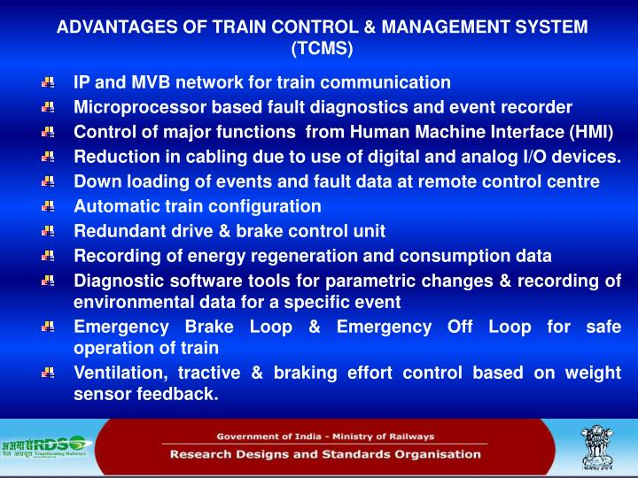 ADVANTAGES OF TRAIN CONTROL & MANAGEMENT SYSTEM (TCMS)