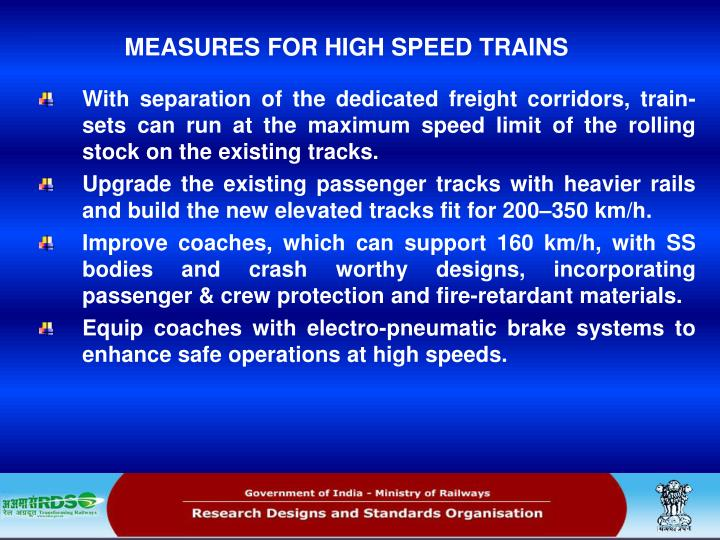 MEASURES FOR HIGH SPEED TRAINS