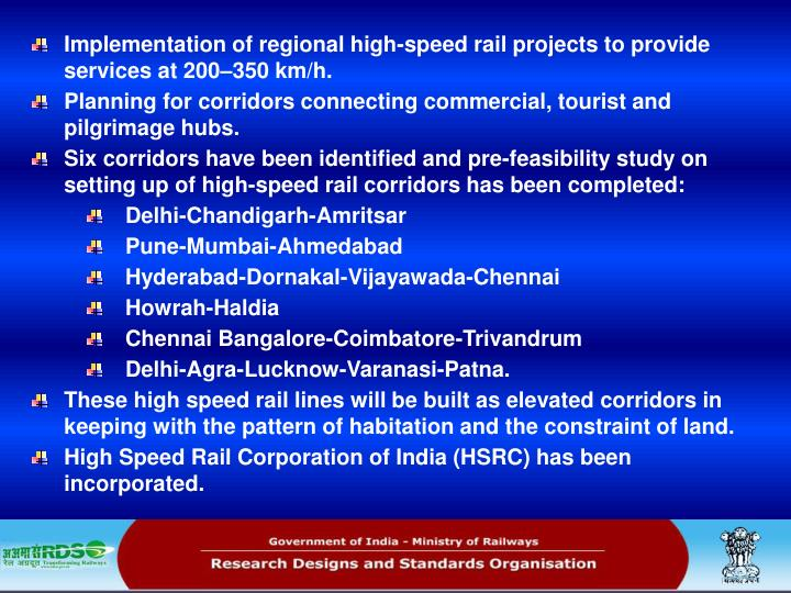 Implementation of regional high-speed rail projects to provide services at