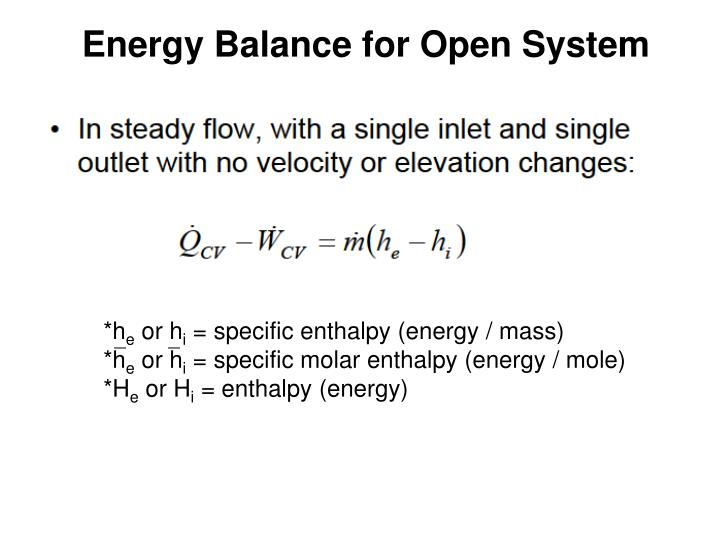 Energy Balance for Open System