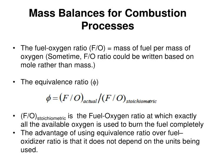 Mass Balances for Combustion Processes