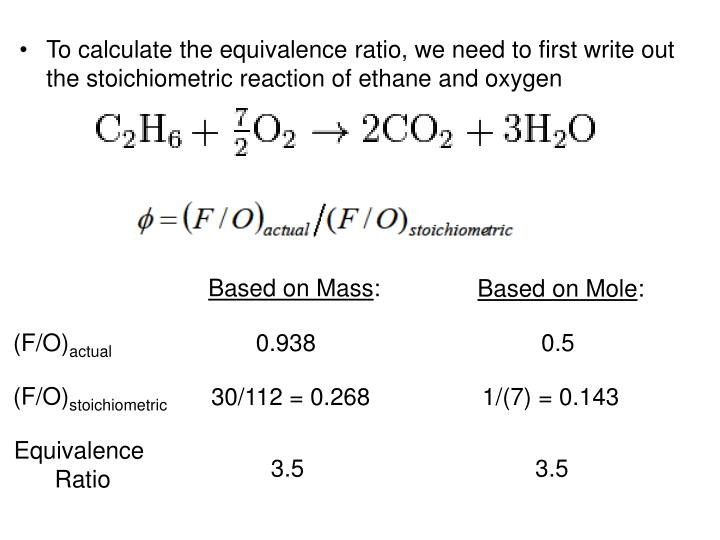 To calculate the equivalence ratio, we need to first write out the stoichiometric reaction of ethane and oxygen