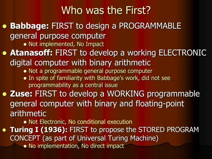 Who was the First?