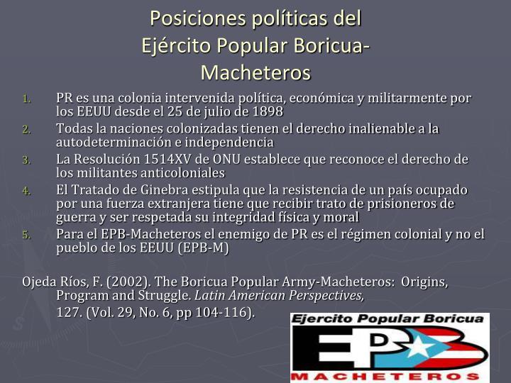 Posiciones políticas del