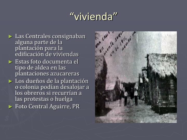 Las Centrales consignaban alguna parte de la plantación para la edificación de viviendas
