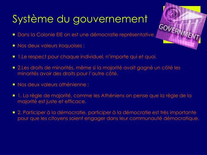 Système du gouvernement