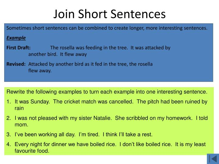 Join Short Sentences