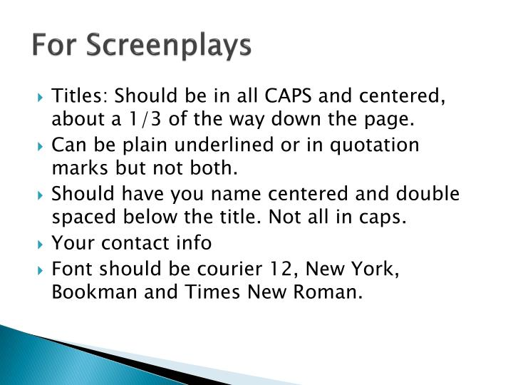 For Screenplays