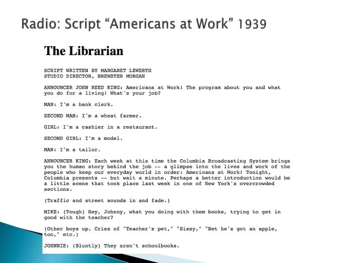 "Radio: Script ""Americans at Work"""
