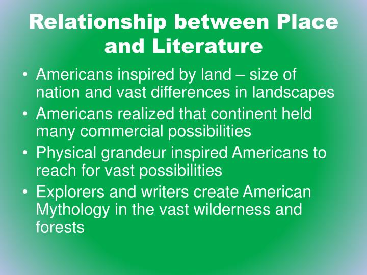 Relationship between Place and Literature