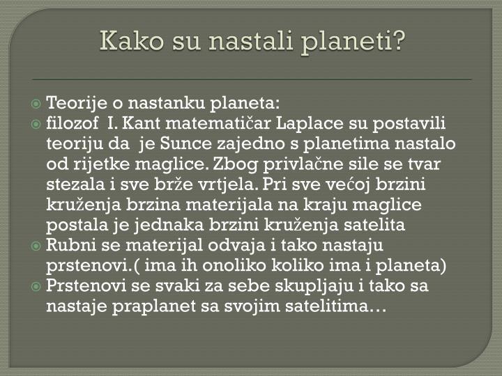 Kako su nastali planeti?