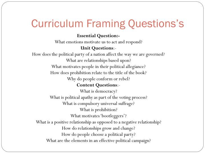 Curriculum framing questions s