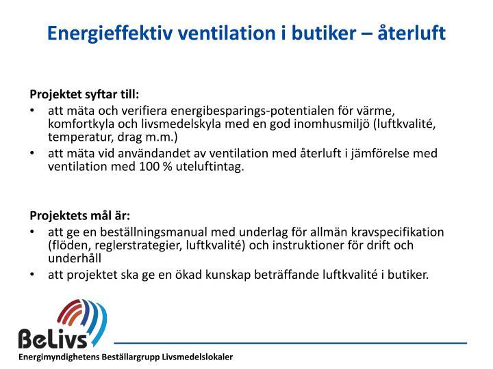 Energieffektiv ventilation i butiker – återluft
