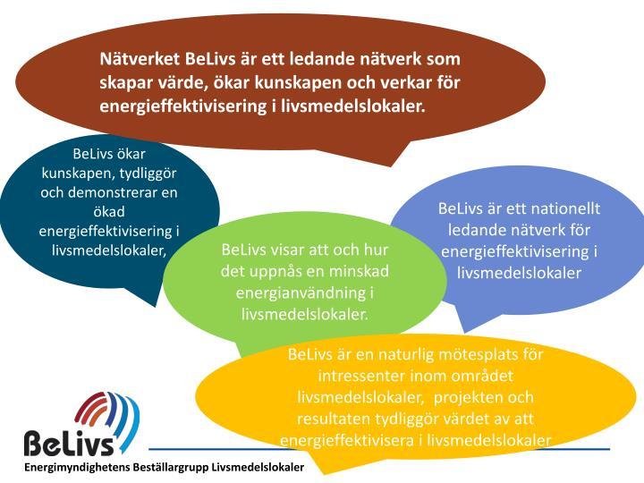 Nätverket BeLivs är ett ledande nätverk som skapar värde, ökar kunskapen och verkar för energieffektivisering i livsmedelslokaler.