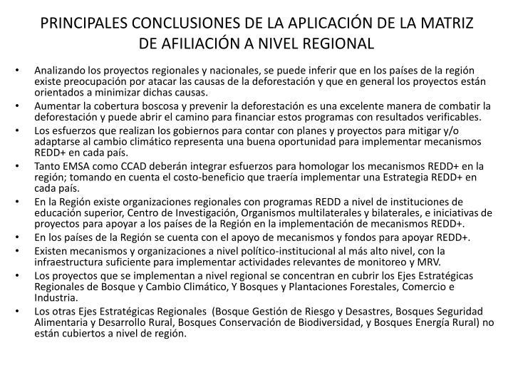 PRINCIPALES CONCLUSIONES DE LA APLICACIÓN DE LA MATRIZ DE AFILIACIÓN A NIVEL REGIONAL
